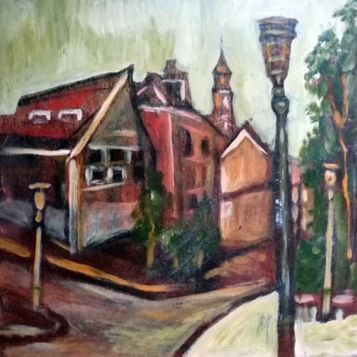 hanzos namas, kauno senamiestis, hanzos, namas, kauno, senamiestis, aliejinė tapyba, paveikslas, paveikslai, tapyba, menas, miestas