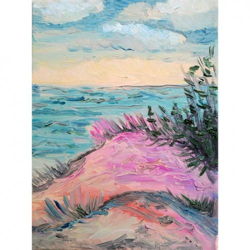 dunes, sea dunes, sea, marinist, landscape, marinist landscape, art, paintings, painting, oil painting, odile norvilaite bytautiene, miniature