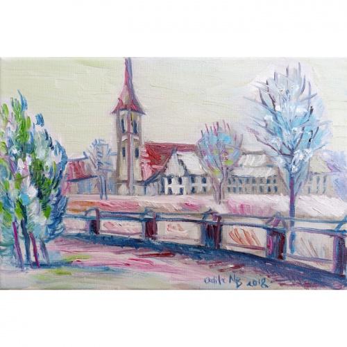 kretinga, franciscan monastery, franciscan, monastery, kretinga monastery, oil painting, paintings, urbanistic, painting, odile norvilaite, bytautiene