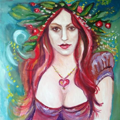 demetra, paveikslai, paveikslas, menas, aliejumi tapyti paveikslai, zmones, moteris, aliejine tapyba, odile norvilaite bytautiene, zemdirbystes deive, derlingumo deive, vedybu saugotoja