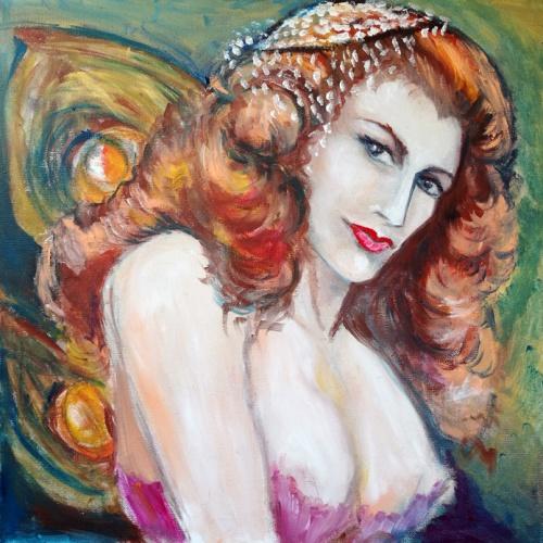 raudonplauke, erotinis paveikslas, erotinis aliejumi tapytas paveikslas, paveikslai, paveikslas, erotika, menas, tapyba, aliejine tapyba, moteris, mergina, erotika, odile norvilaite bytautiene