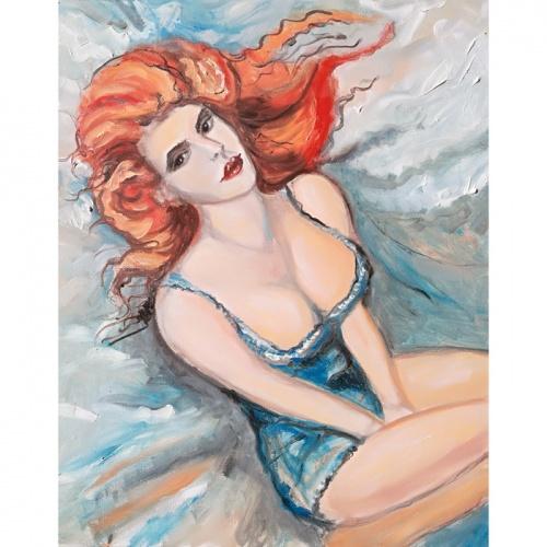 moteris, saule, pataluose, moteris pataluose, moteris saule, erotinis paveikslas, erotiniai paveikslai, tapyba, aliejumi tapytas paveikslas, aliejine tapyba, menas, odile bytautiene