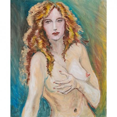 rytmecio uzklupta, rytmecio, uzklupta, erotika, erotinis paveikslas, aliejumi tapytas erotinis paveikslas, erotiniai paveikslai, aliejine tapyba, zmones, moteris, nuoga, menas, paveikslai, paveikslas