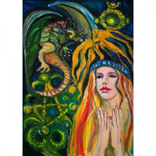drakono naktis, drakono, naktis, drakonas, mitologinis paveikslas, mitologiniai paveikslai, aliejine tapyba, tapyba, menas, paveikslai, paveikslas, fantastinis, fantastinis paveikslas