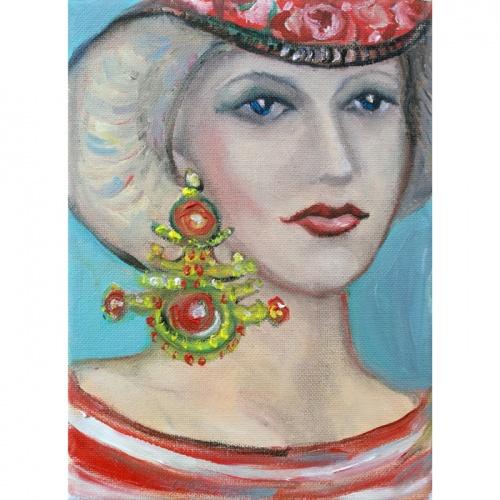 raudonas vasaros auskaras, vasaros auskaras, auskaras, vasaros, raudonas, aliejine tapyba, tapyba, miniatura, menas, paveikslai, paveikslas, moteris, zmones, Odile Norvilaite