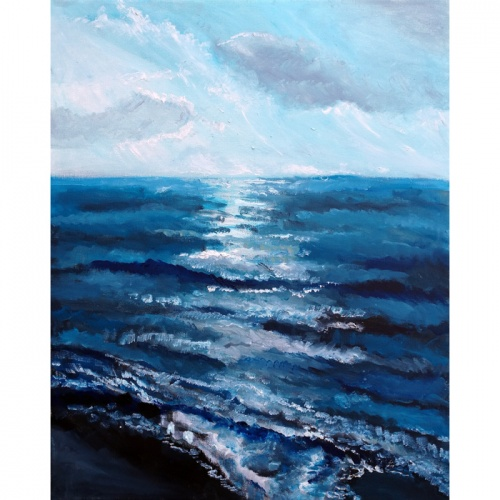 sidabrine jura, sidabrine, jura, marinistinis, marinistinis paveikslas, marinistiniai paveikslai, paveikslas su jura, paveikslai, paveikslas, menas, tapyba, aliejine tapyba, Odile Norvilaite