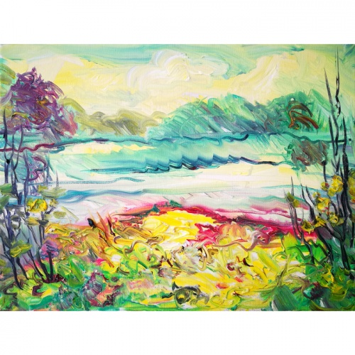 autumn coast, autumn, coast, oil painting, paintings, painting, landscape, autumn landscape, art, original art, odile norvilaite bytautiene