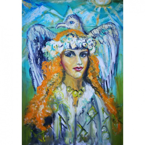 bride of falcon, bride, falcon, falcon bride, oil painting, mystic painting, fantastic painting, painting, paintings, original, original art, animal, people, odile norvilaite bytautiene