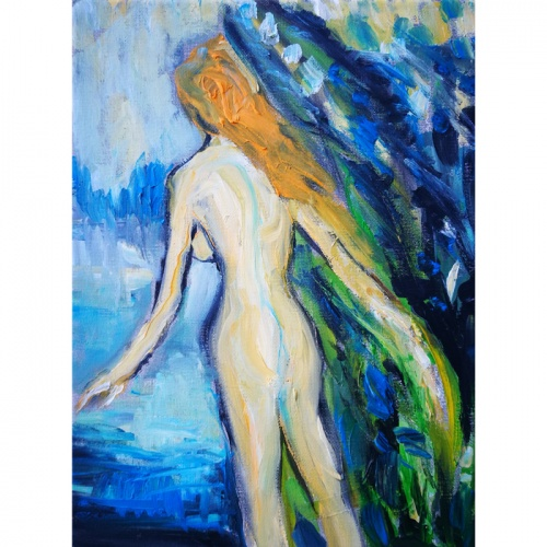 secret bathing, secret, bathing, oil painting, erotica, erotic painting, art, original art, odile norvilaite bytautiene, people, erotic