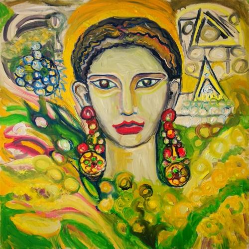 kukuruzu deive, deive, kukuruzu, kukuruzai, tapyba, aliejumi tapytas paveikslas, aliejine tapyba, paveikslas, paveikslai, menas, moteris, zmones, auskarai, Odile norvilaite bytautiene