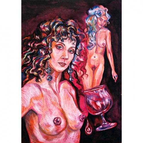 secret, erotic painting, erotic paintings, erotica, erotic, erotic art, paintings, painting, original erotic art, Odile Norvilaite