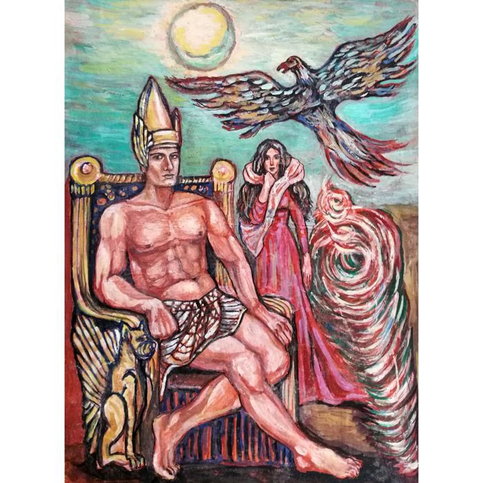 sakalo skrydis, sakalo, skrydis, egipto zeme, egipto, zeme, gyvunai, sakalas, menas, tapyba, paveikslai, paveikslas, Odile, Odile Norvilaite, bytautiene, zmones, istorinis, istorinis paveikslas