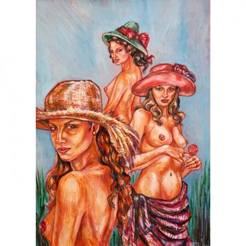bonnets, erotic, erotic painting, erotica, erotic art, erotic art painting, paintings, painting, art, nude, nude girls erotica, nude girls, Odile, Odile Norvilaite, people