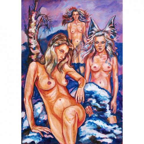 mermaids, erotic painting, erotic, erotica, erotica paintings, erotic paintings, art, nude, nude girls, tits, boobs, original art, odile bytautiene
