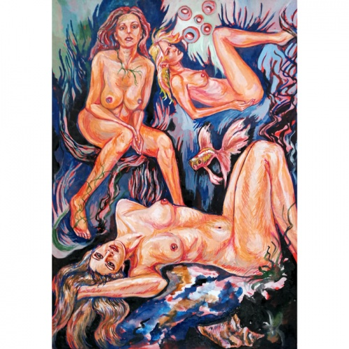 water world, water, world, erotic, erotic painting, erotica, erotic art painting, nude, nude art, nude painting, art, Odile bytautiene