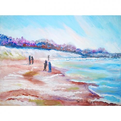 apsnigta pakrante, apsnigta, pakrante, paveikslai, paveikslas, aliejine tapyba, aliejus, tapyba, menas, marinistinis, paveikslai su jura, jura, marinistiniai paveikslai