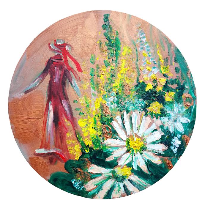 ramuniu nostalgija, ramuniu, ramunes, nostalgija, paveikslas, paveikslas su gelemis, tapyba, aliejine tapyba, menas tapytas paveikslas, tapytos geles, moteris, geles, Odile bytautiene, odile norvilaite