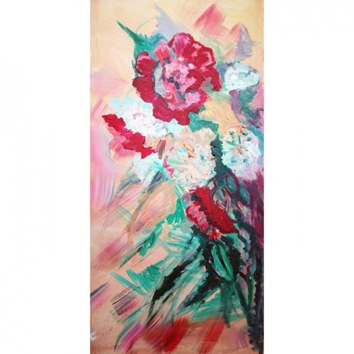 peonies, gulbins, flowers, painting, oil painting, paintings, original art, art, Odile norvilaite, peonies and gulbins, oil painting with flowers