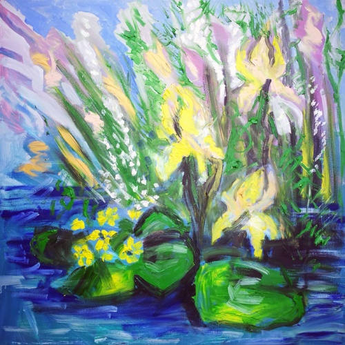 flowering lake shore, flowering, lake shore, lake, shore, paintings, painting, art, flowers, Odile Bytautiene, Odile Norvilaite bytautiene