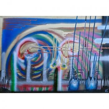 Dvi saules link sutemu, paveikslas, Gediminas Bytautas, Dvi saules, link sutemu, sutemu, tapyba, paveikslai, tapybos paveikslas, menas, painting, paintings, original art, misri technika, two suns, dusk, two suns towards dusk, towards dusk, saules link